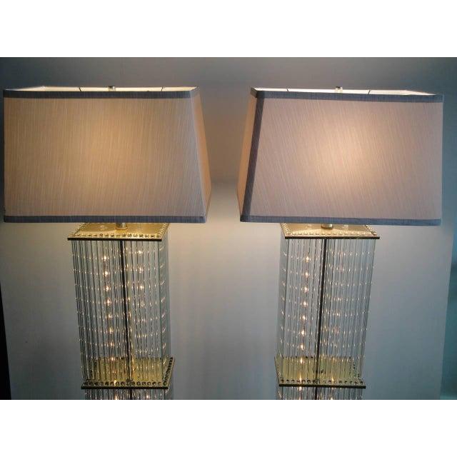 Superb pair of sciolari brass and glass floor lamps for lightolier pair of sciolari brass and glass floor lamps for lightolier image 4 of 9 mozeypictures Choice Image