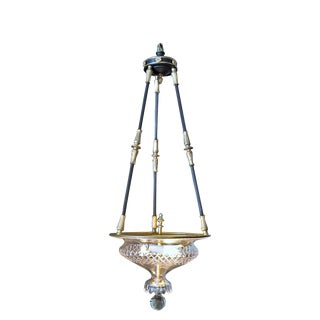 3-Light Neoclassical Style Bronze and Cut Crystal Pendant, France, circa 1935 For Sale