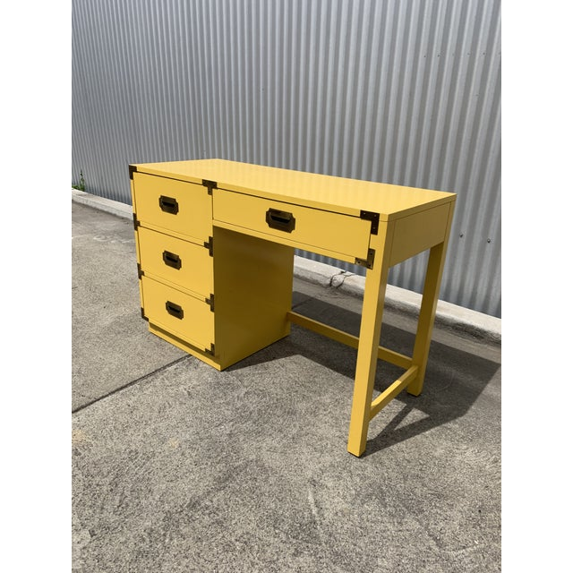 Campaign 1960s Campaign Style Canary Yellow Writing Desk For Sale - Image 3 of 4
