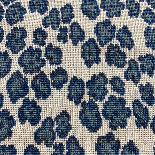 Contemporary Designer Blue Leopard Spot Heavy Weight Fabric For Sale - Image 3 of 4