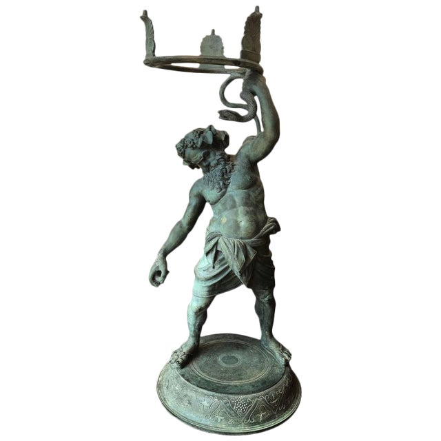 19th Century Grand Tour Patinated Bronze Silenus Lamp For Sale