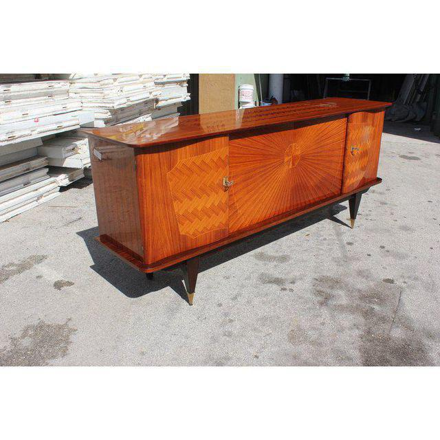 French Art Deco Exotic Rosewood Sunburst Sideboard / Buffet Circa 1940s - Image 2 of 10