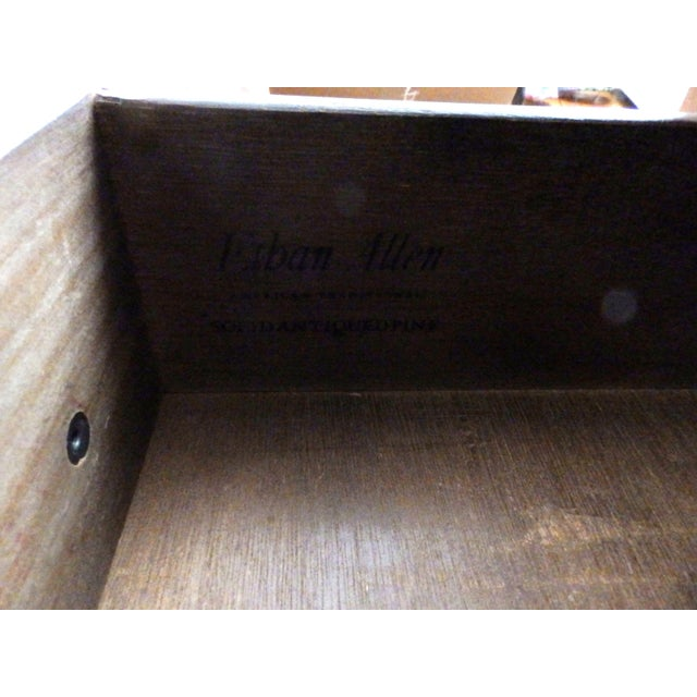 Ethan Allen 20th Century Early American Ethan Allen Dark Pine Old Tavern Console Cabinet For Sale - Image 4 of 5
