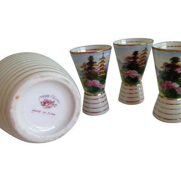 Midcentury Porcelain Sake Set - 8 Pieces - Image 6 of 7