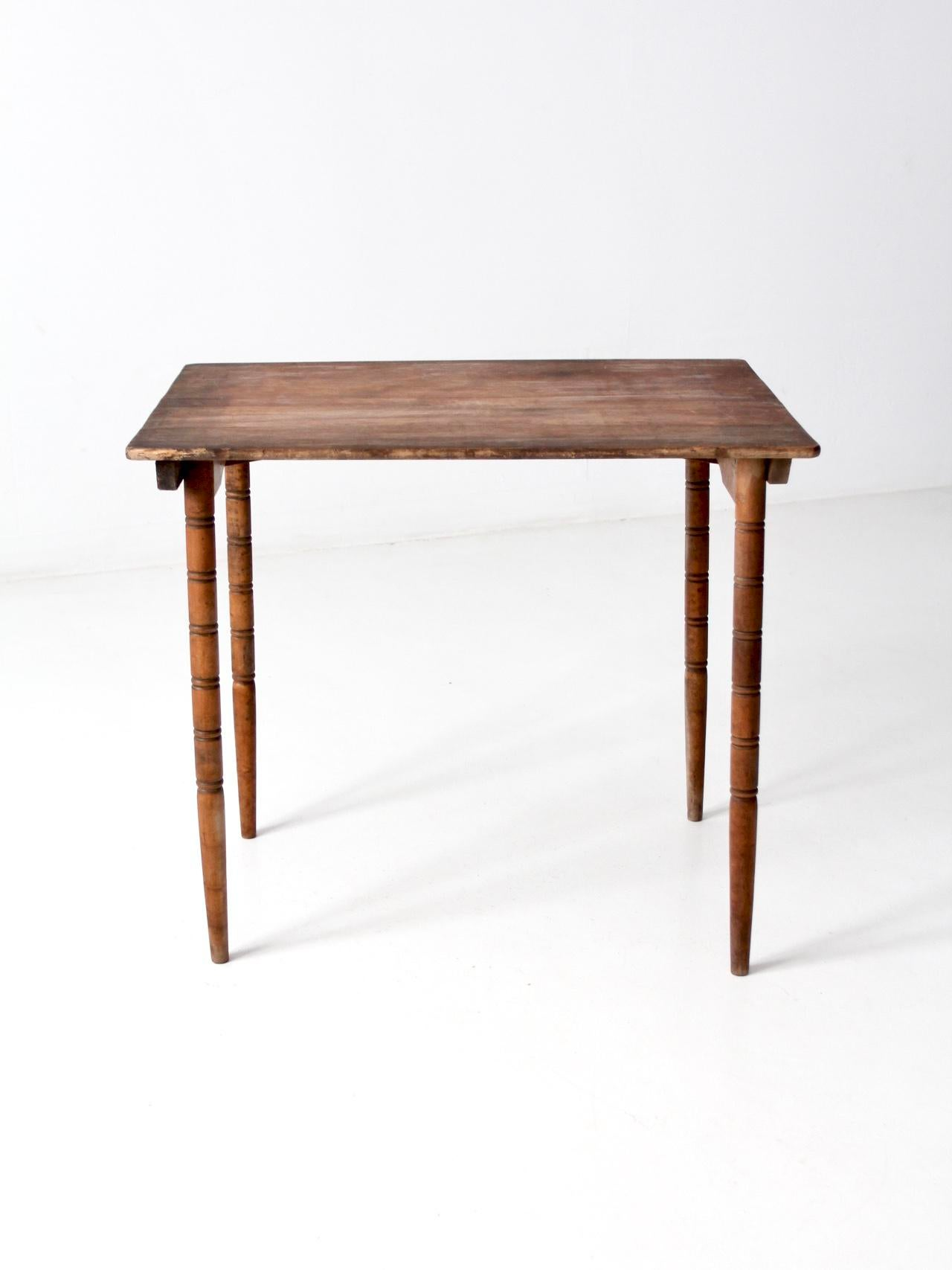 This Is An Antique Wooden Folding Table. The Wood Table Features Turned Wood  Legs That