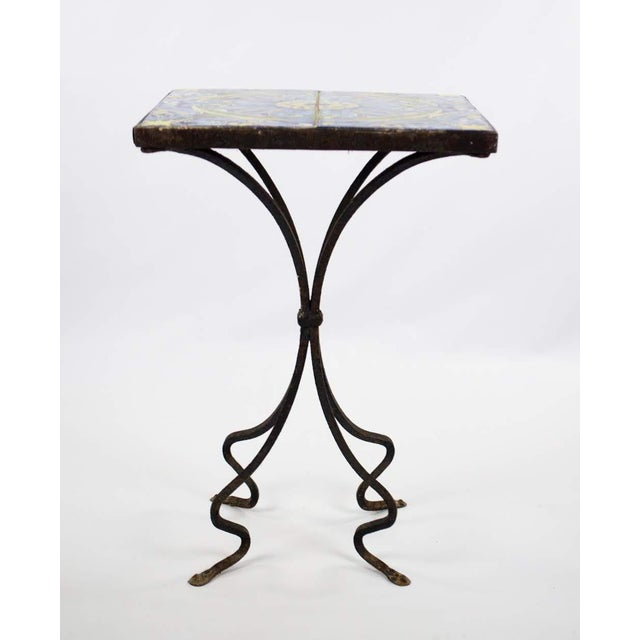 Spanish 20th Century Spanish Tile and Iron Side Occasional Table For Sale - Image 3 of 12
