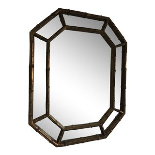 Hollywood Regency Octagonal Bronze Gilt Faux Bamboo Mirror For Sale