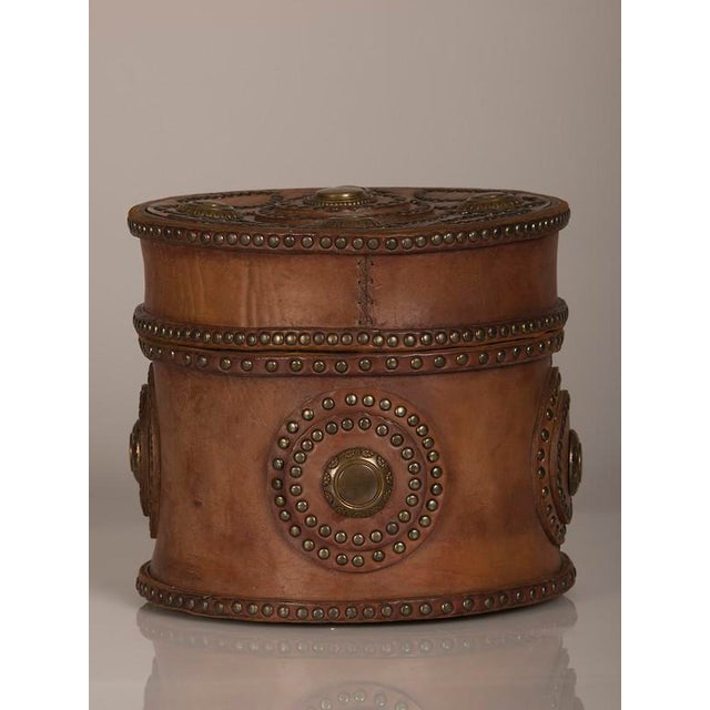 Italian Large Antique Italian Leather Box with Decorative Brass Studs circa 1900 For Sale - Image 3 of 7