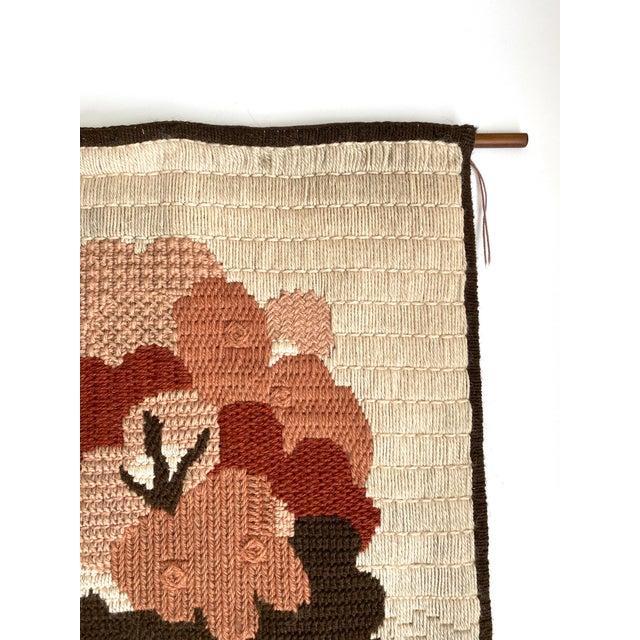Charming vintage needlework tree wall hanging, Denmark, mid-century. Dark brown polyester fabric backing. Includes dark...
