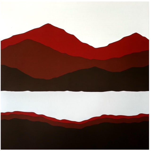 Vintage 1981 Mountain & Lake Silk-Screen Print For Sale