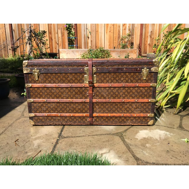 1930s French Louis Vuitton Monogram Steamer Trunk For Sale - Image 13 of 13