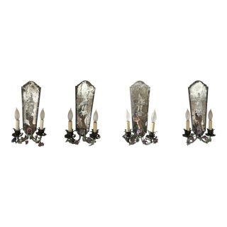 Antique Venetian Mirrored Wall Sconces With Etched Glass Panels - Set of 4