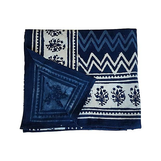Indian hand-printed Shibori throw or full/queen size coverlet made from cotton and colored with indigo/white dyes. Marked,...