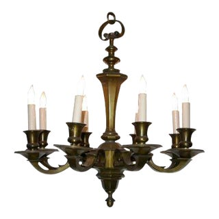 Small French 1940's Bronze Chandelier For Sale