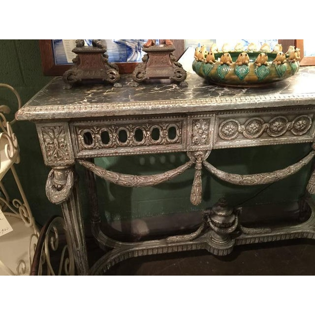 Louis XVI 19th Century Louis XVI Carved Painted Faux Marble Top Consoles - a Pair For Sale - Image 3 of 9