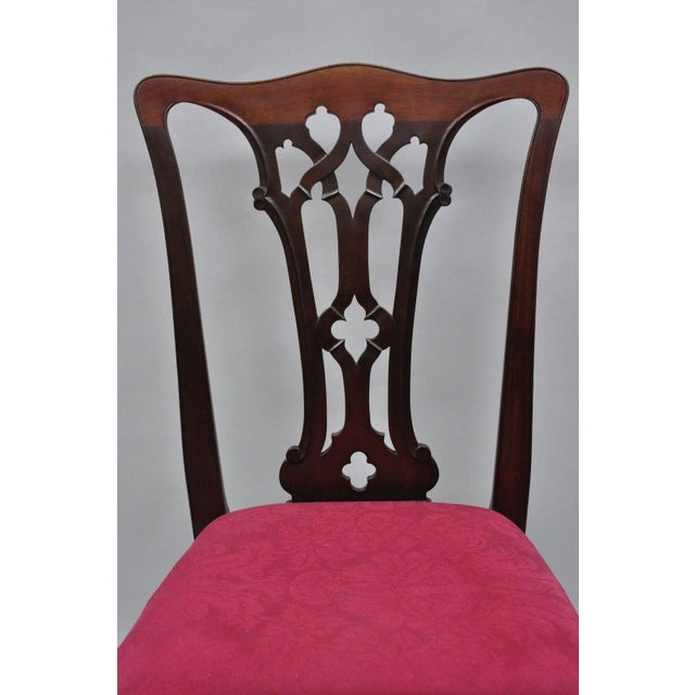 Chippendale T. Robinson & Sons Makers Antique Solid Mahogany Chippendale Style Side Chairs - a Pair For Sale - Image 3 of 13