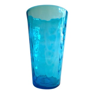Vintage Mid Century Modern Aqua Sea Blue Hand Blown Murano Art Glass Large Cylinder Ripple Vase For Sale