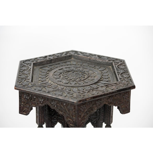 Early 20th Century Anglo Indian Highly Carved Ebonized Plant Stand Antique For Sale - Image 5 of 8