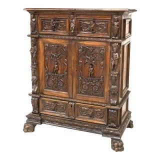 Pre-1800s Antique Renaissance Revival Relief Carved Secretary Cabinet For Sale