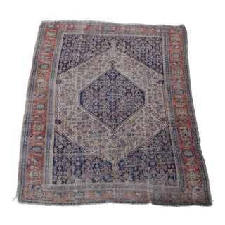 Distressed Persian Senneh Neutral Rug For Sale