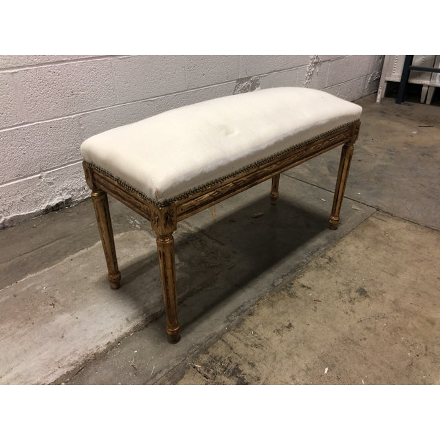 Solid Oak wood Vintage Neoclassical Louis XVI Bench. Hand carved imported from Europe. Beautiful accent Bench for any area...