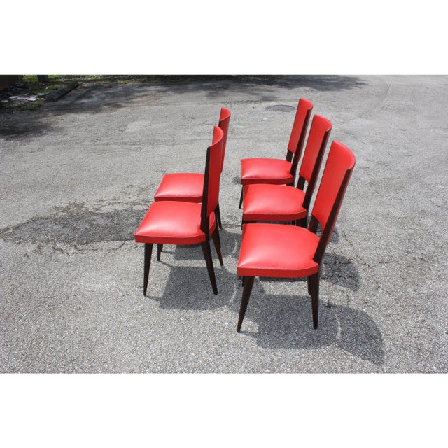 1940s Vintage French Art Deco Solid Mahogany Dining Chairs- Set of 5 For Sale - Image 12 of 13