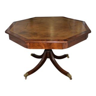 19th Century Mahogany & Embossed Leather Octagonal Rent Table For Sale