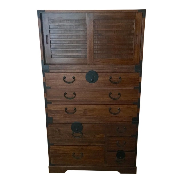 Japanese Style 3 Piece Stacking Tansu Clothing Chest - Image 1 of 11