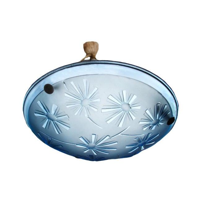 1930's Art Deco Aqua Pressed Glass Chandelier For Sale