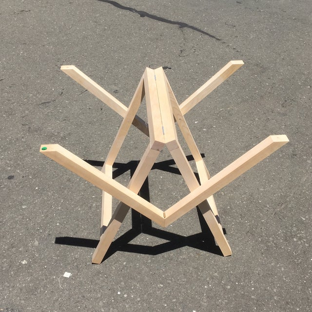 Sold without the glass top. Floor sample trestle in birch wood made in France design by Jocelyn Deris. Modern trestle can...