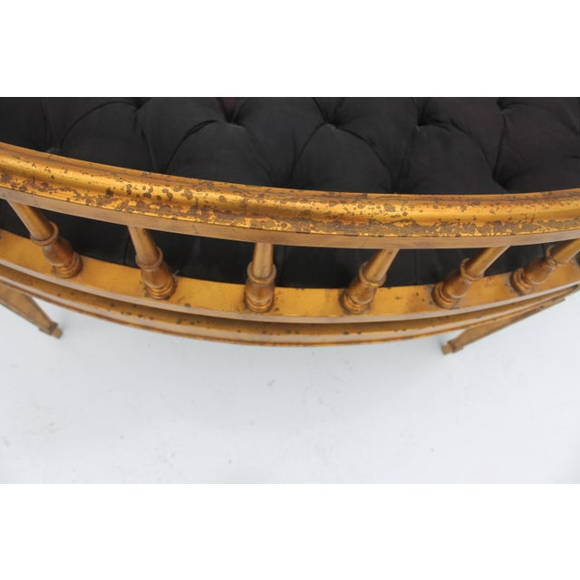 French Antique Curved Two Poster Giltwood Settee - Image 10 of 11