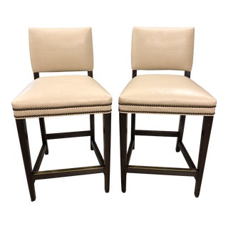 Pair of Custom Cream Leather Counter Stools For Sale