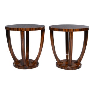 Art Deco Style Palisander Round Side Tables - a Pair For Sale