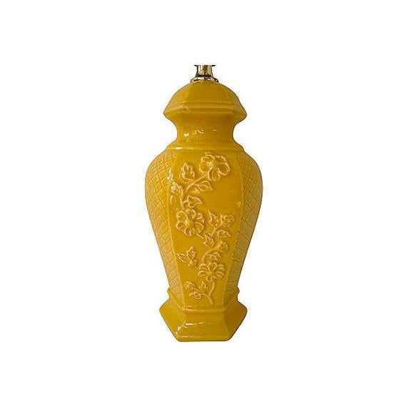 Vintage Chinoiserie Mustard Yellow Ginger Jar Lamp - Image 2 of 3