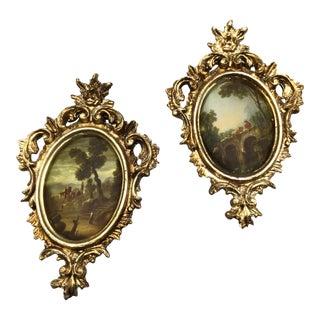 Vintage Pair 1960s Miniature Italian Gold Framed Prints on Silk For Sale
