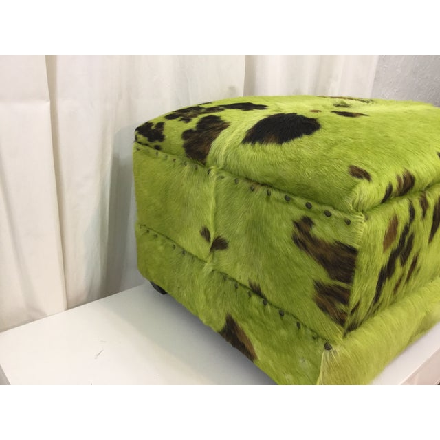 Lime Green Cowhide Ottoman For Sale In Miami - Image 6 of 7