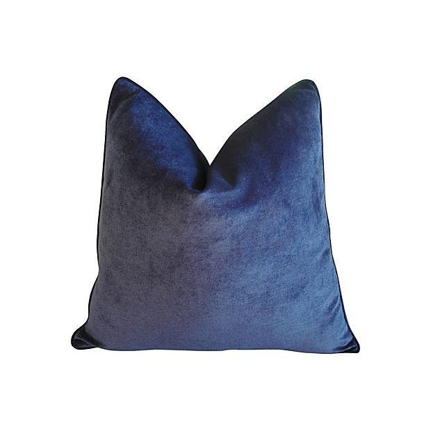 Boho Chic Custom Tailored Midnight Blue Velvet Feather/Down Pillows - Pair For Sale - Image 3 of 6