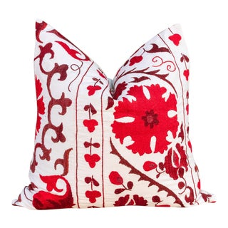 Shoni Royal Red Suzani Pillow For Sale