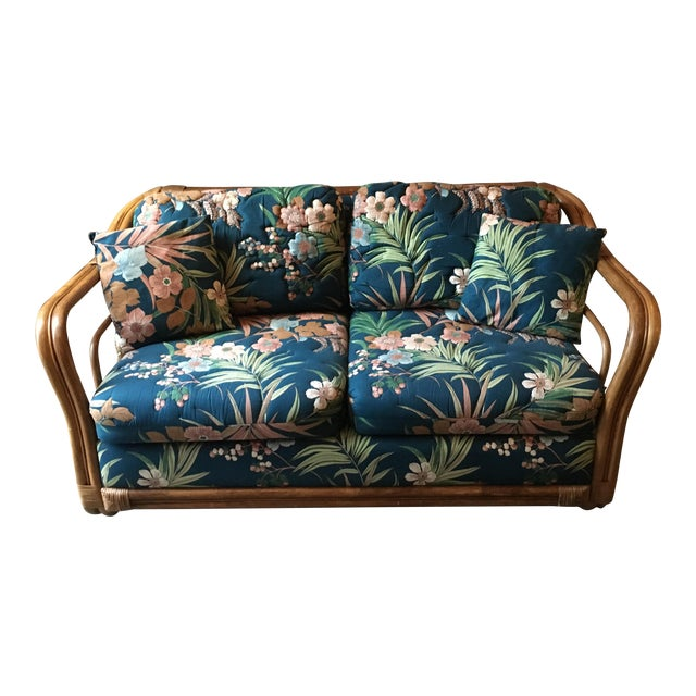 Vintage Rattan & Tropical Print Fabric Upholstered Loveseat - Image 1 of 5