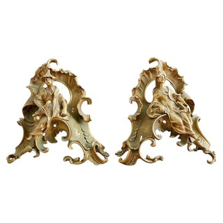 Pair of Louis XV Chinoiserie Gilt Bronze Figural Chenets For Sale