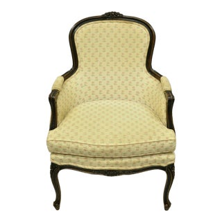 Vintage Mid Century Ethan Allen French Provincial Louis XV Style Bergere Lounge Arm Chair For Sale