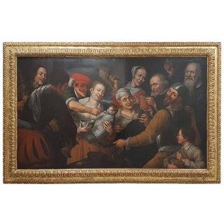 17th Century Floris Van Schooten Flemisch Oil on Canvas Painting For Sale