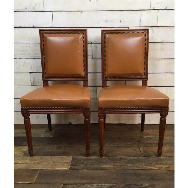 Antique Louis XVI Leather Upholstered French Country Chairs - A Pair - Image 2 of 11