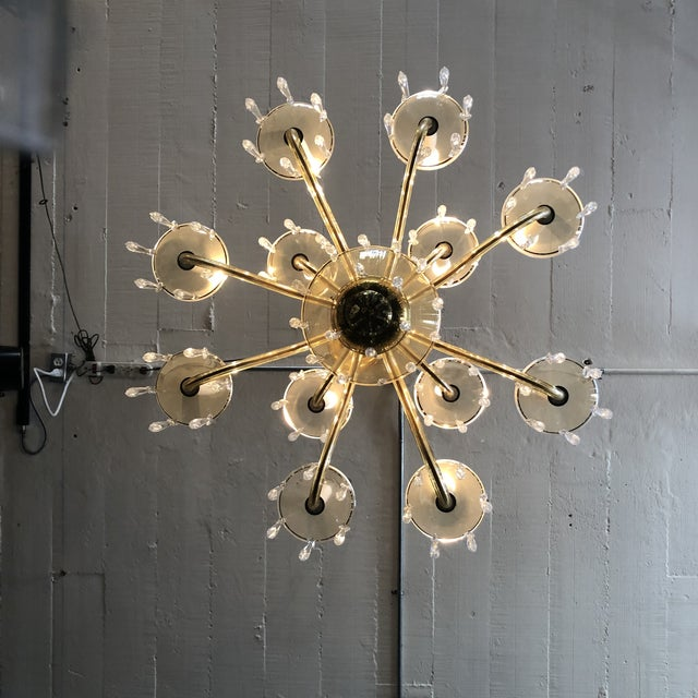 1950s Mid-Century Modern Amber Murano Glass Two Tier 12 Light Chandelier For Sale - Image 4 of 13