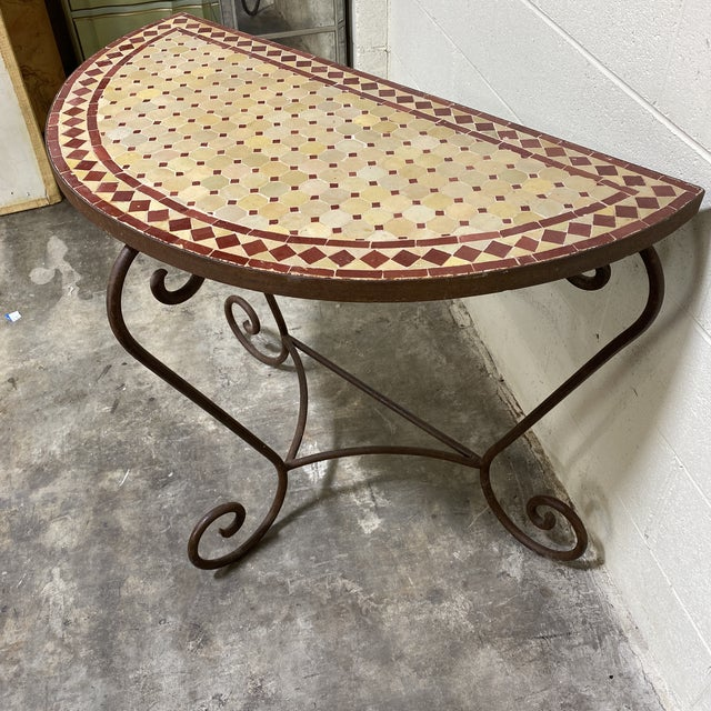 Boho Chic Terra-Cotta Mosaic Tile and Iron Console For Sale - Image 3 of 11