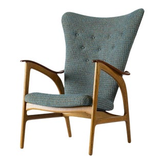 Danish Wingback Lounge Chair For Sale