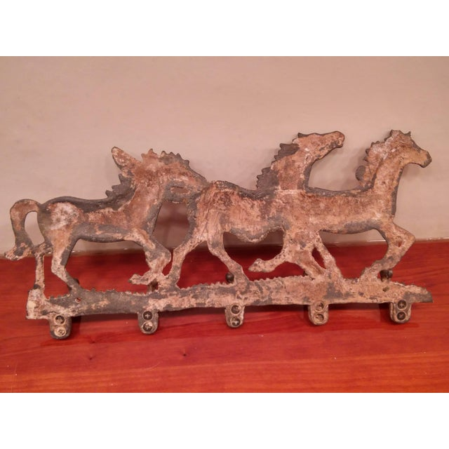 Brown Running Ponies Cast Iron Wall Rack For Sale - Image 8 of 10