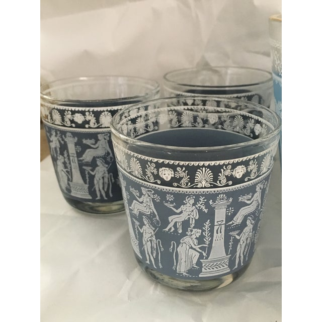 Blue Mid-Century Glasses & Ice Bowl - Bar Cart Set of 9 For Sale - Image 8 of 8