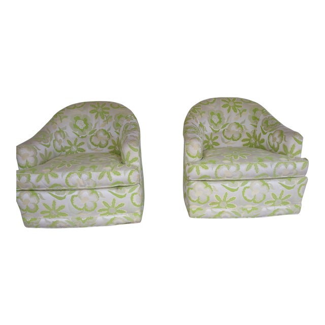1970's Swivel Barrel Chairs- A Pair For Sale