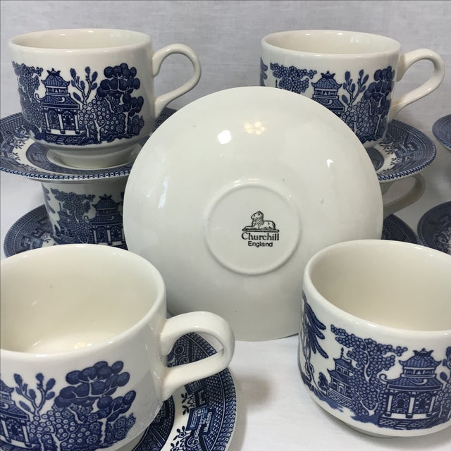 Blue Willow Teacups and Saucers - Set of 9 - Image 6 of 6
